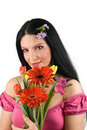 Woman with spring flowers bouquet Stock Photos