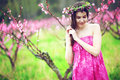 Woman in spring garden young beautiful girl blooming Stock Image