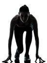 Woman sprinter on starting block Royalty Free Stock Photo