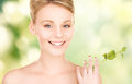 Woman with sprout picture of Royalty Free Stock Photos