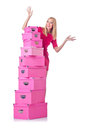 Woman with stack of giftboxes Stock Image