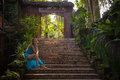 Woman at  stairs, Bali, Indonesia Royalty Free Stock Photo