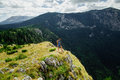 Woman stand at the end of earth in fascinating landscape montenegro Royalty Free Stock Photography