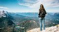 Woman standing in alp mountains peak karwendelspitze Royalty Free Stock Photography