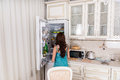 Woman Standing in front of Open Refrigerator Royalty Free Stock Photo