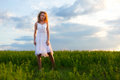Woman standing on nature and smiling Royalty Free Stock Images