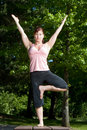 Woman Standing on Picnic Table - Vertical Royalty Free Stock Photos