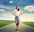 Woman standing on the road at outdoor successful young Stock Images