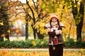 Woman standing under the autumn tree from which leaves fall Royalty Free Stock Image