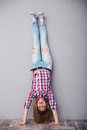 Woman standing upside down Royalty Free Stock Photo