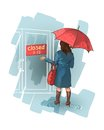 Woman stands near a closed shop got wet in the rain tired and irritated frustration and stress Royalty Free Stock Images