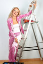 Woman starting renovations Royalty Free Stock Photo