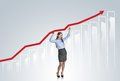 Woman with statistics curve business is trying to increase market Royalty Free Stock Image