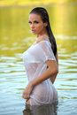 Woman stood in river attractive young wet tee shirt Royalty Free Stock Photography