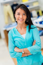 Woman at a store happy smiling clothing Stock Images