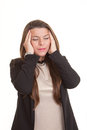 Woman with stress headache suffering Stock Photography