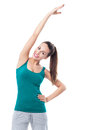 Woman stretching arm attractive young smiling over white background Stock Image