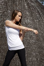 Woman stretching arm fountain Royalty Free Stock Photography