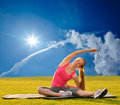 Woman stretching before fitness attractive and exercise oudoor Stock Images