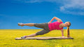 Woman stretching before fitness attractive and exercise oudoor Stock Photos