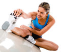 Woman stretching leg Royalty Free Stock Images