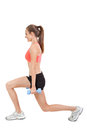Woman stretching legs after jogging isolated Royalty Free Stock Photo