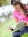 Woman studying outdoors Stock Image