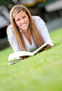Woman studying outdoors Stock Images