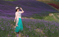 A Woman in Stunning Large Lavender Field Royalty Free Stock Photo