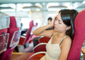 Woman suffer from seasick on the ferry Royalty Free Stock Images