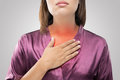 Woman suffering from acid reflux or heartburn Royalty Free Stock Photo