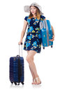 Woman with suitacases preparing for summer vacation Royalty Free Stock Photo