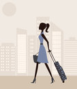 Woman with suitcase in the city vector Stock Photography
