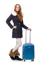 Woman with suitcase preparing for winter vacation Stock Image