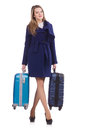 Woman with suitcase preparing for winter vacation Royalty Free Stock Photos