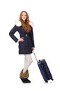 Woman with suitcase preparing for winter vacation Stock Photo