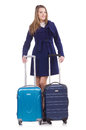 Woman with suitcase preparing for winter vacation Royalty Free Stock Photo