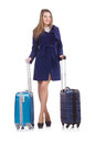 Woman with suitcase preparing for winter vacation Royalty Free Stock Photography