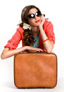 Woman suitcase thinking traveling white background Stock Photography