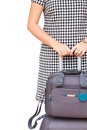 Woman with suitcases close up border isolated on white background Stock Photos