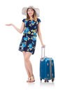 Woman with suitcases isolated on white Stock Photography