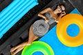 Woman Summer Fashion. Girl Sunbathing By Swimming Pool. Beauty Royalty Free Stock Photo
