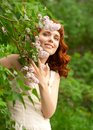 Woman in summer garden Royalty Free Stock Photography