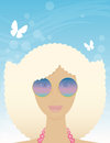 Woman in summer glasses on a background of the sky Royalty Free Stock Photos