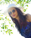 Woman in summer hat Royalty Free Stock Photography