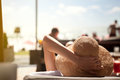 Woman with summer hat enjoy in sun Royalty Free Stock Photo