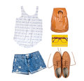 Woman summer outfit of clothes and accessories on white isolated background Stock Photos