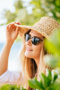 Woman in sun hat on the beach Royalty Free Stock Photo