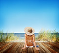 Woman Sunbathe Sunny Summer Beach Relaxing Concept Royalty Free Stock Photo