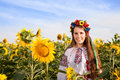 Woman at sunflower field Royalty Free Stock Photo